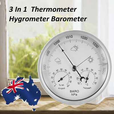 AU 132mm Weather Meter Temperature Humidity Hygrometer Barometer Wall Hanging