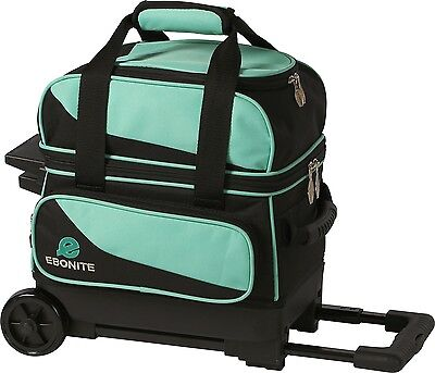 Ebonite Transport 1 Ball Roller Bowling Bag with Wheels Color is Teal