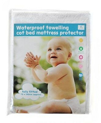 BNWT Baby COT BED Waterproof Mattress Protector Terry Towelling Cotton 140x70cm