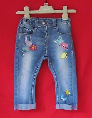NEXT Girls Cat Bunny Butterfly Embroidered Jeans Age 9-12 mths