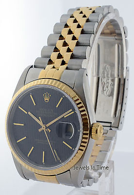 Rolex Datejust 18k Gold & Steel Black Tapestry Dial  Mens Automatic Watch  16233