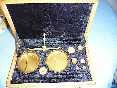 Antique Gold Scale With Weights And Case