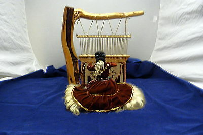 Large Native American Weaver Doll And Loom
