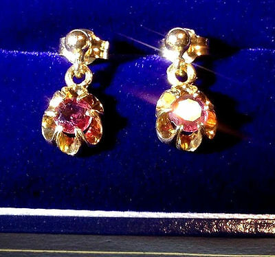 Charming, Victorian, 9 Ct Gold Trembleuses Earrings With Natural Rubies