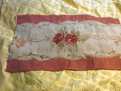 Antique Vintage Upholstery Fabric 13x24 Textured ROSES Floral 1800s