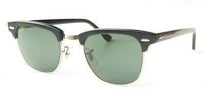 VINTAGE 80s B&L RAY BAN USA CLUBMASTER BLACK GOLD BAUSCH&LOMB SUNGLASSES W0365