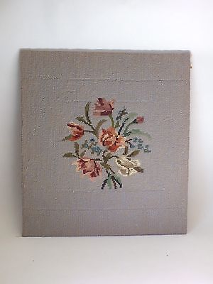 Large Vintage Completed Tapestry Needlepoint Flowers Floral
