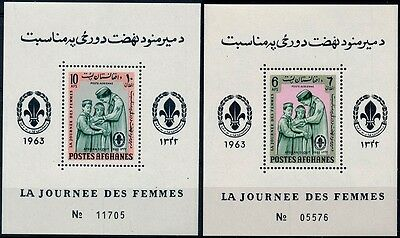 Afghanistan 1963 MNH 2 MS Set, Womens Day, Doctor, Medicine, Scout  - B132