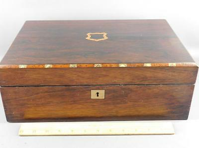 Antique Rosewood Campaign Writing Box, Lap Desk, Brass, Mother of Pearl Inlay