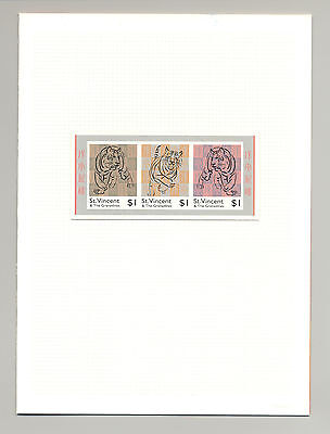 St Vincent #2520-2521 Year of the Tiger Strip of 3 & S/S Imperf Chromalin Proofs