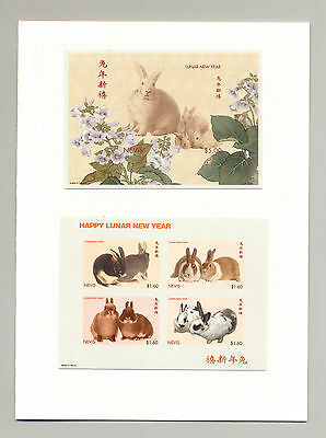 Nevis 1999 Year of the Rabbit 1v M/S of 4 & 1v S/S Imperf Chromalin Proofs