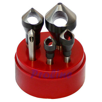 5 PC HSS 82 Degree Countersinks & Deburring Tool Set Straight Shank 1/16-9/16