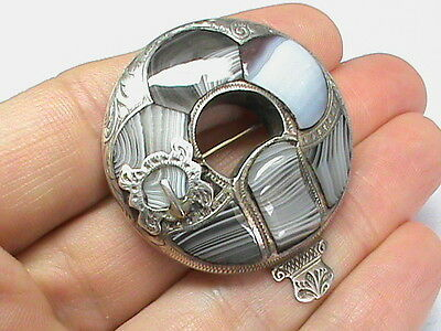 Antique Victorian Sterling Silver Scottish Agate Brooch