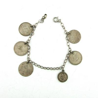 Antique 1842 - 1882 Seated Liberty Dime Love Token Silver Family Charm Bracelet
