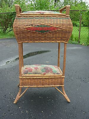 Vintage Wicker? Sewing Basket w/ Design~Large Standing Sewing Stand~NICE Antique