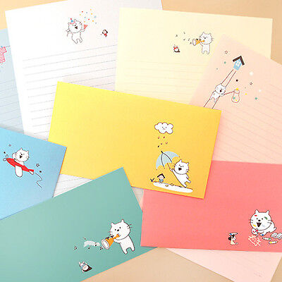 1x Colorful Kitty Story Letter Set - 4sh Writing Stationery Paper 2sh Envelope
