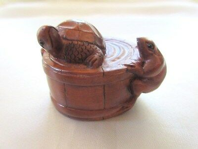 Hand Carved Boxwood Netsuke Frog and Turtle on a Barrel signed by artist