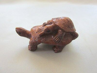 Hand Carved Boxwood Netsuke Two Turtles signed by artist