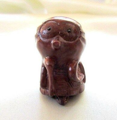 Hand Carved Boxwood Netsuke Octopus Riding Turtle signed by artist