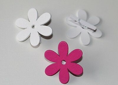 32 Pcs Wooden peg FLOWER white pink Pegs Mini pegs Wedding Table cards