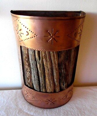 Southwestern Punched Copper & Cholla Wood Wall Light Cover