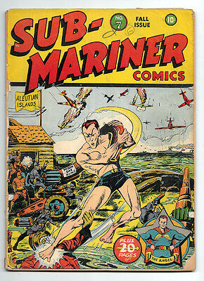 Sub-Mariner Comics #7 Timely! Golden Age Fair 1.0 War Cover