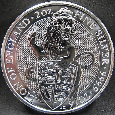 2016 Great Britain 2 oz.- 999.9 fine silver Lion of England £5 5 Pounds piedfort