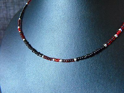 "Ethnic Wicca Glass beaded collar choker necklace RAINBOW unisex 15-17/"" red blue"