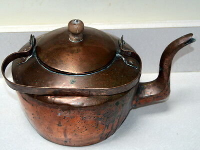 Vintage Copper Tea Pot Tea Kettle Country Kitchen Decor Nice