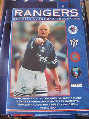 1995-96 Rangers v Anorthosis Famagusta champions league premliminary 9.8.1995