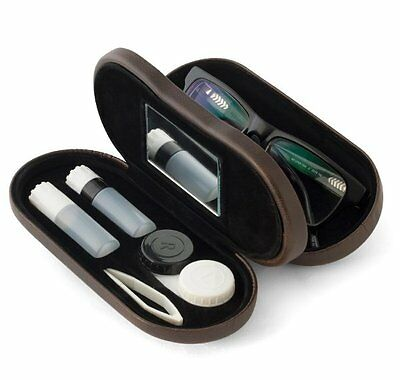 Balvi CONTACT LENS & GLASSES CASE 2 in 1 Dual Case FAUX LEATHER Brown