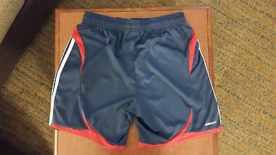 Girls Adidas climacool soccer shorts size XL blue base, red trim