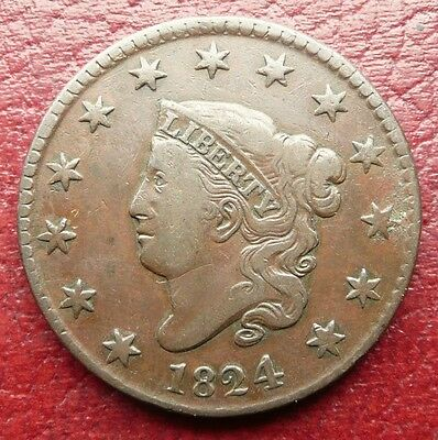 Usa 1824 Coronet Head Large Cent Coin - High Grade - See!