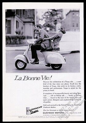 1961 Vespa scooter couple on moped photo vintage print ad