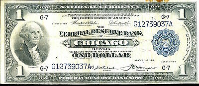 1916 $1 Federal Reserve Note Bank of Chicago - Large Currency SZ035