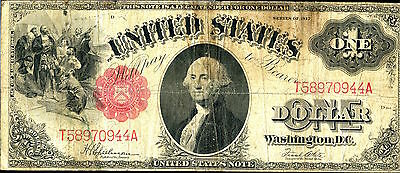 1917 $1 Red Seal United States Note - Large Currency - One Dollar SZ051