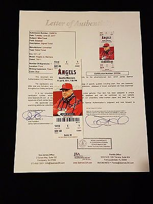 Mike Trout Signed Mlb Debut Game Ticket Stub Psa Loa Baseball