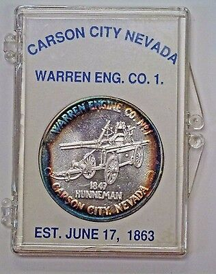 {BJSTAMPS} Carson City NV 1 ozt .999 Silver Warren Engine Co. 1st Day ISSUE