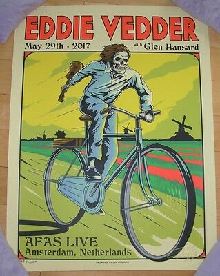 EDDIE VEDDER pearl jam gig poster print AMSTERDAM 5-29-17 2017 Tour Ian Williams