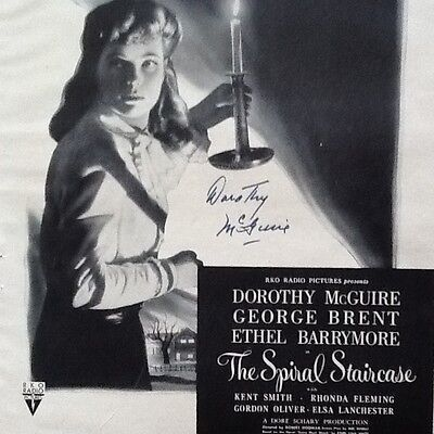 Dorothy McGuire SIGNED 1946 Movie Ad Spiral Staircase