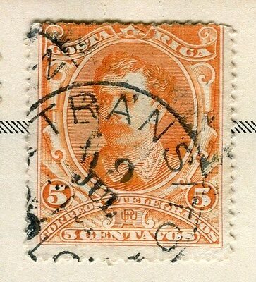 COSTA RICA;    1889 early classic issue fine used 5c. value, Postmark