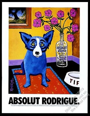 1994 Absolut Rodrigue George Rodrigue blue dog vodka art vintage print ad