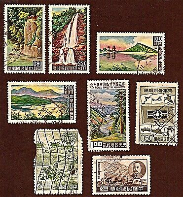 TAIWAN, 8 1961-64, Scenery, Forestry, Youth Summer + Stamps Used SeeDescr FUS448