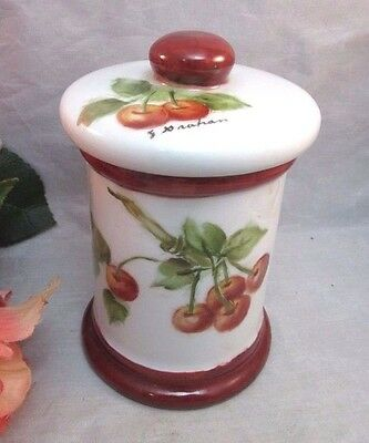 Vtg hand painted, signed jam pot. Cherries. G. Grahm