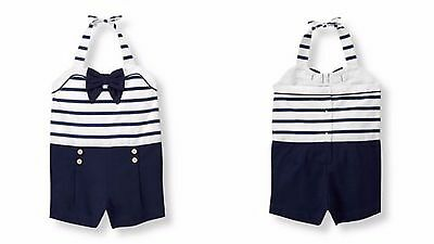 Janie and & Jack St Tropez Sun 7 NWT Navy & White Nautical Romper Summer NG1