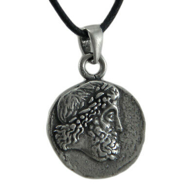 Solid Pewter Greek God Zeus Double Sided Pendant W/ Cord Necklace