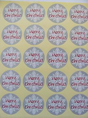 36 MERRY CHRISTMAS STICKERS SNOWFLAKES 35mm labels seals gift treat bags xmas
