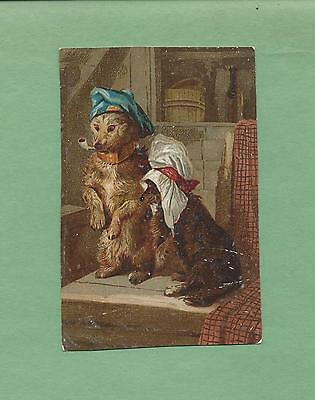 Adorable DRESSED DOGS On WHITE RUSSIAN LAUNDRY SOAP Victorian Trade Card