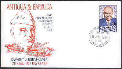 Antigua & Barbuda First Day Cover Dwight D Eisenhower Normandy Landing 1984