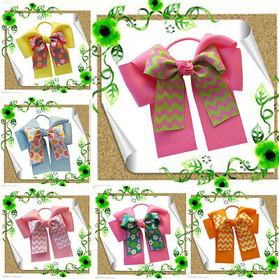 """10 BLESSING Happy Girl Hair Accessories 6"""" C- Double Cheer Leader Bows Elastics"""